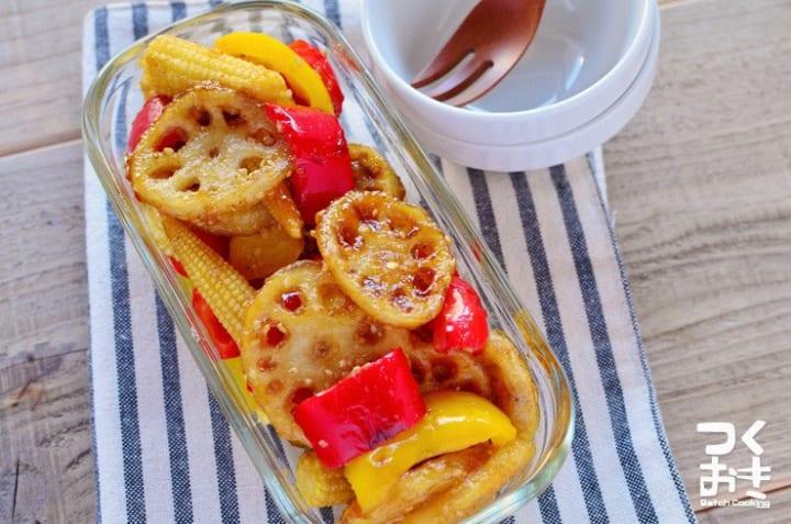 常備菜レシピに!れんこんとパプリカの甘酢サラダ