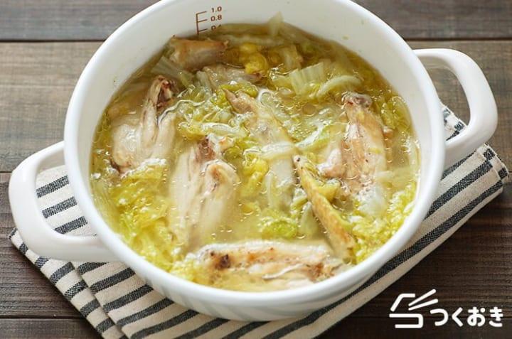 献立の付け合わせ!白菜と手羽先のぱいたんスープ