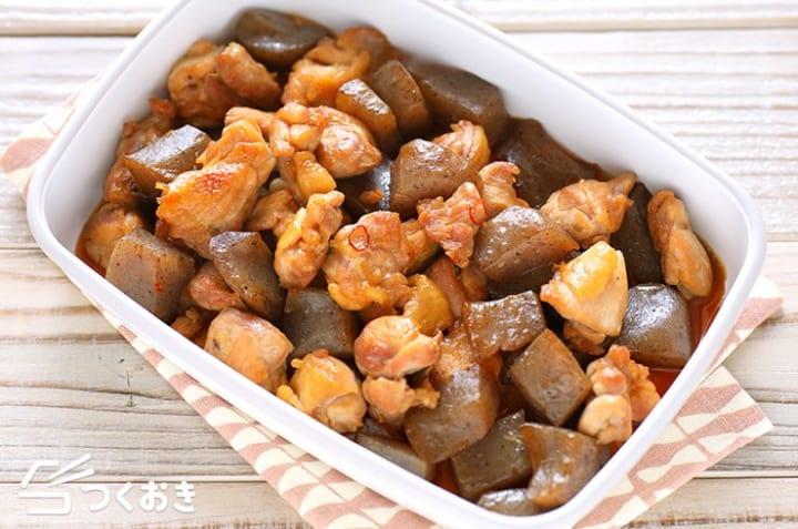 お弁当のおかずレシピに鶏肉とこんにゃく煮