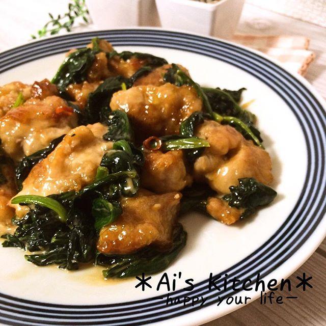 鶏肉とほうれん草のオイマヨ炒め