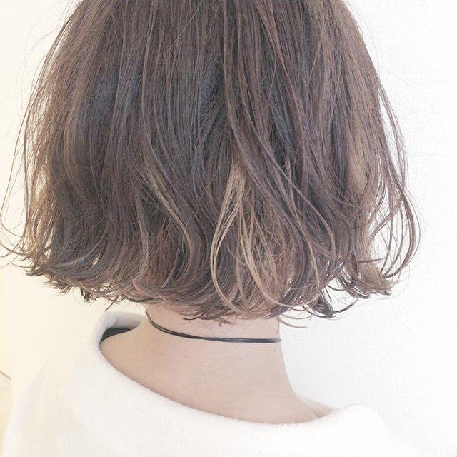 40代女性の前髪あり×ショートボブ《ヘアカラー》4