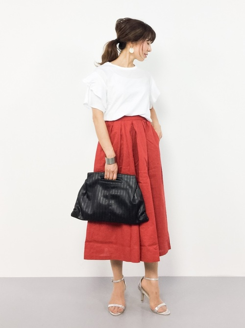 [FELISSIMO] リブ イン コンフォート ふわっとスカート見え麻混ロングキュロット2