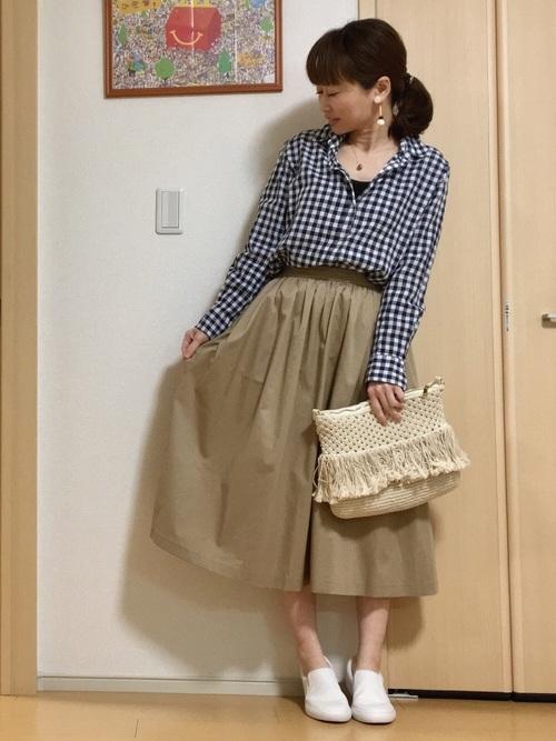 【2020春】ギンガムチェックシャツ×スカートコーデ2