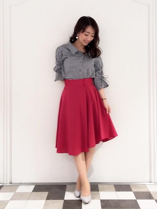 【2020春】ギンガムチェックシャツ×スカートコーデ