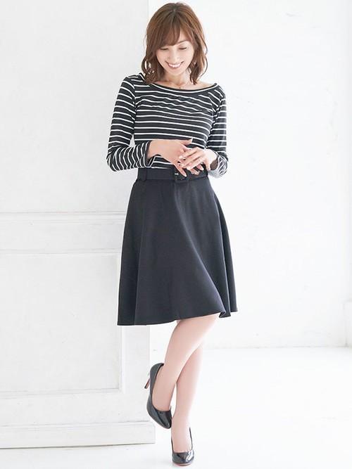 [Nina] ベルト付きフレアミディサーキュラースカート