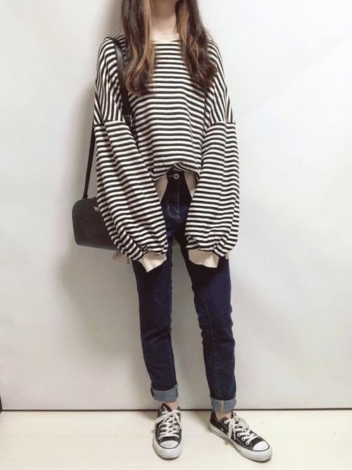 バルーンスリーブTシャツ×スキニーデニム
