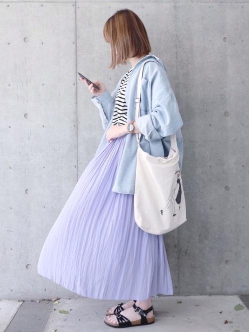[NOLLEY'S] 【ゼクシィ ベビー 6月号掲載】割繊ギャザーロングスカート