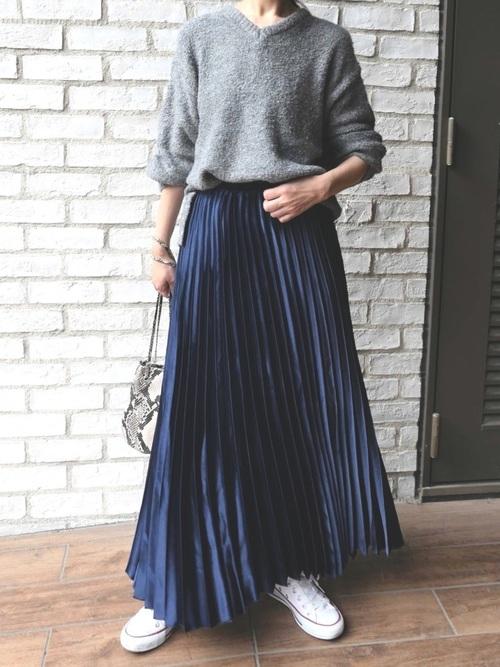 [CORNERS] サテンプリーツスカート
