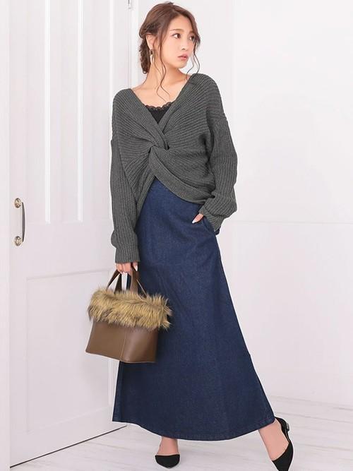 [Nina] バックジップAラインロングデニムスカート
