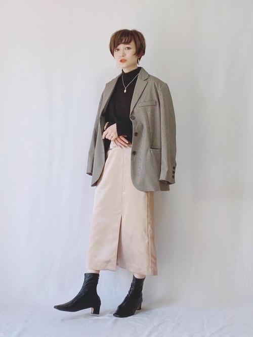 ジャストな着丈のスカート&ワンピコーデ