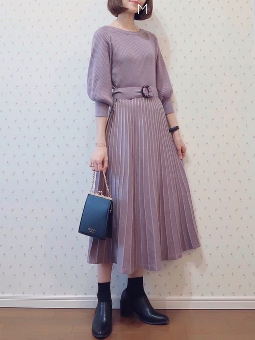[natural couture] 配色ニットプリーツワンピース