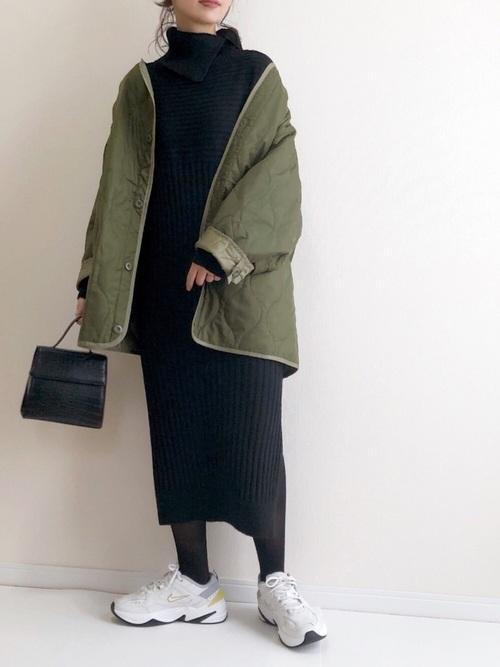 [A.I.C] リブニット・オフタートルONE PIECE DRESS