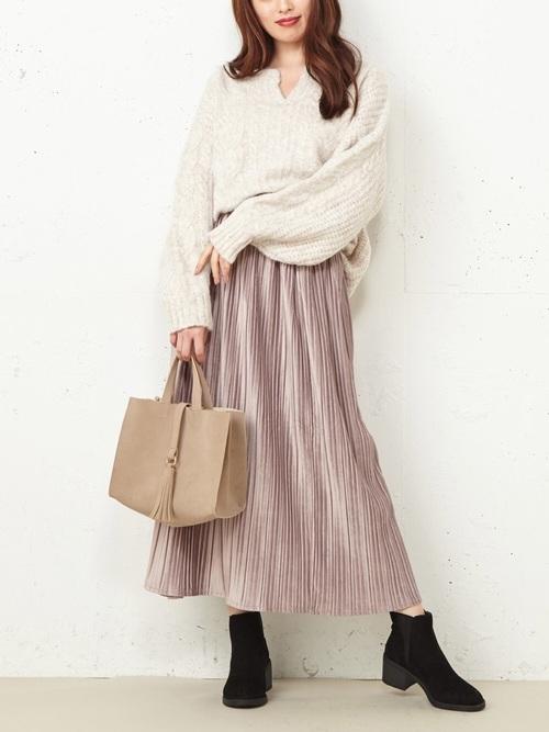 [Roomy's] スウェードタッチプリーツスカート