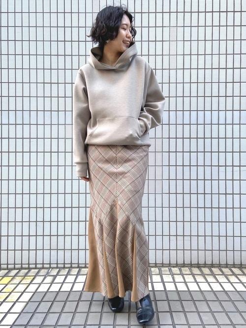 [LAGUNAMOON] グレンチェックマーメイドマキシスカート