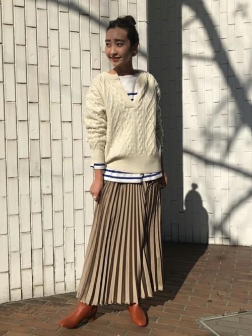 [IENA] サテンプリーツロングスカート◆