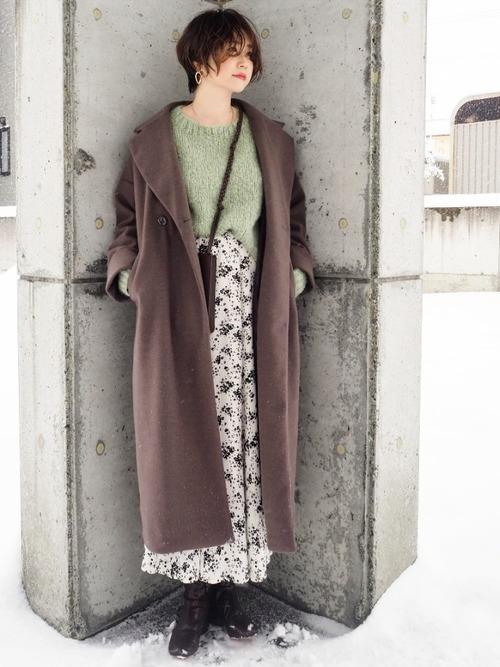 ユニクロのスカートで冬コーデ2