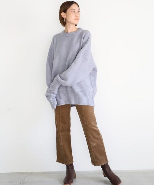 [select MOCA] もっちり柔らか肌触り★ユニセックスバルーンスリーブデザインオーバーサイズボリュームニット