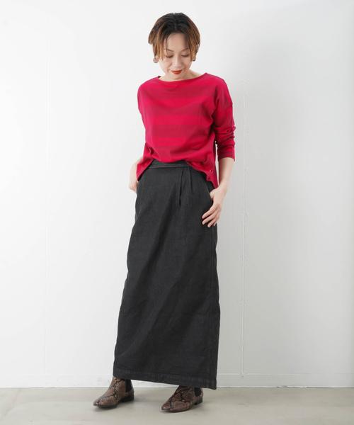 [LUCA/LADY LUCK LUCA] LC/LLL 太ボーダーBIGシルエットロングTシャツ