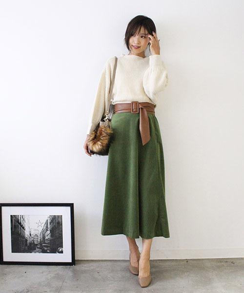 [MODE ROBE] ピーチスキンカラーフレアスカート