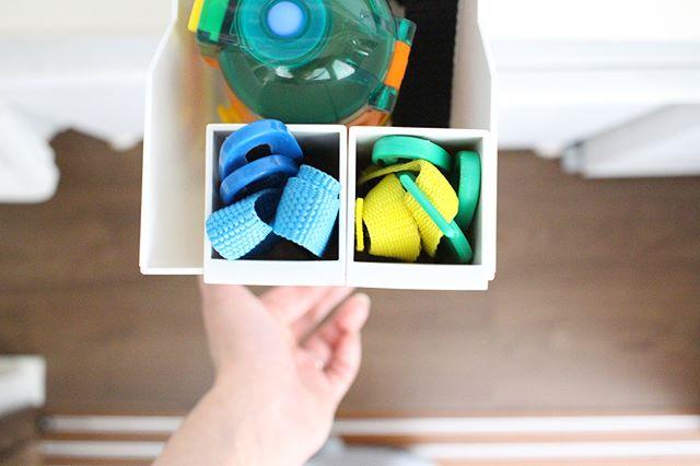 ファイルボックス+ペンポケットで水筒を収納