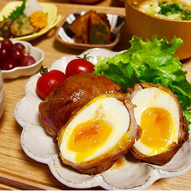美味しい食べ方に!人気のゆで卵の豚肉巻き