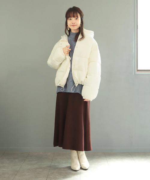 [SESTO] フードショートフェイクダウン/軽量 暖か オーバーサイズ
