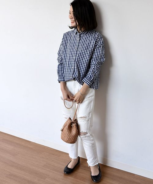 [SHIPS for women] SHIPS Days STANDARD:ギンガム ドロップシャツ ◆