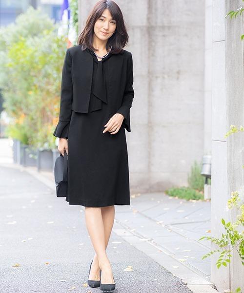 [GIRL] ノーカラージャケット&ボウタイ付きワンピースの2点セットアップセレモニースーツ - 入学式(入園式)・卒業式(卒園式)・お受験・ブラックフォーマル対応フォーマルママスーツ/喪服・礼服