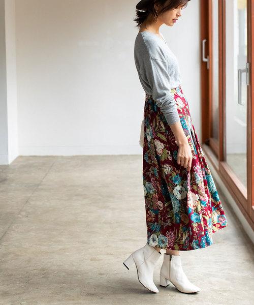 [tocco closet] 花柄タックロングスカート