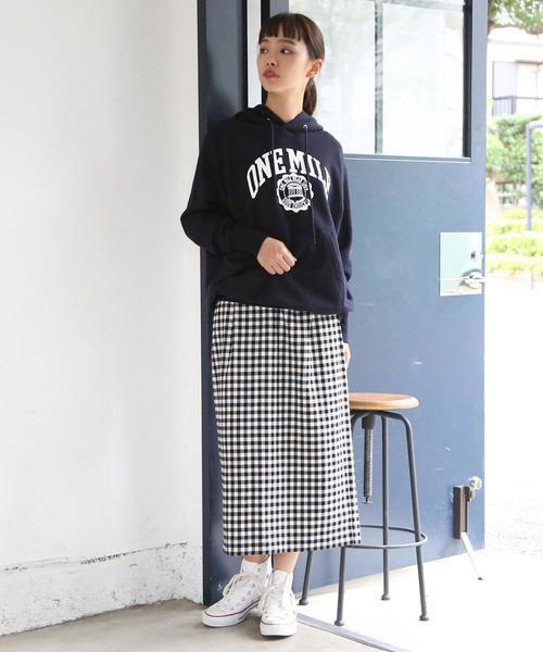 [coen] ギンガムチェックイージータイトロングスカート