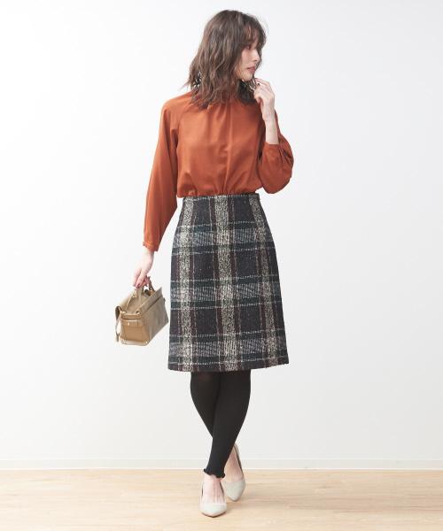 [Rouge vif la cle] インポートトラペーズスカート