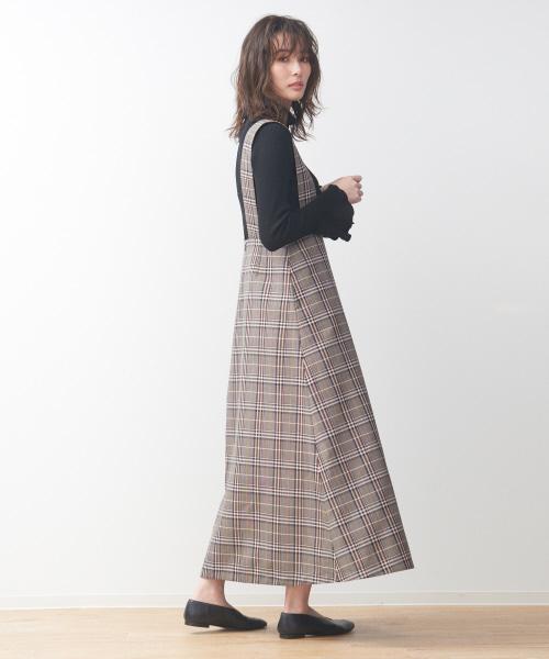 [Rouge vif la cle] 【展開店舗限定】チェック柄サスペンダー付きスカート