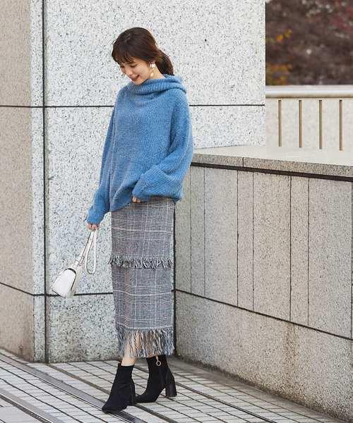 [tocco closet] ツイードフリンジデザインロングスカート