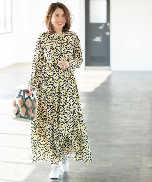[tocco closet] 《高田麻紀子さんコラボ》ニュアンスフラワーティアードロングワンピース