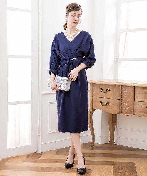 [DRESS STAR] カシュクールネックウエストリボンワンピースドレス