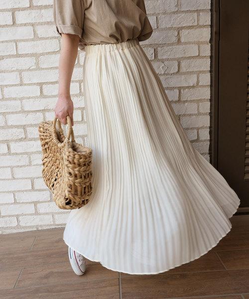 [CORNERS] シフォンプリーツロングスカート
