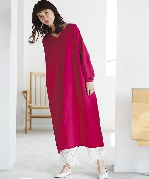 [FELISSIMO] サニークラウズ Vネックのサックドレス