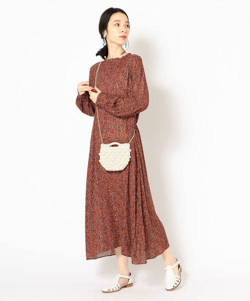 [SHIPS for women] DEVEAUX ボータイワンピース brown