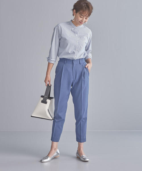 [green label relaxing] 【WORK TRIP OUTFITS】BC スタンド シャツ ストライプ