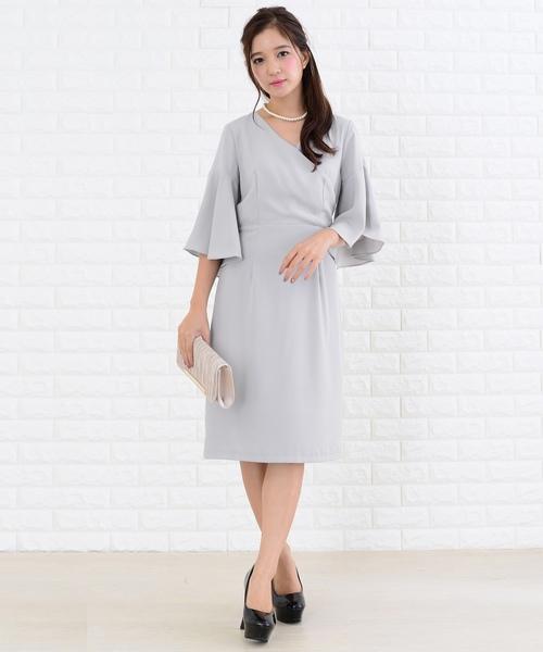 [Lace Ladies] カシュクールネックフレアスリーブワンピース・ドレス