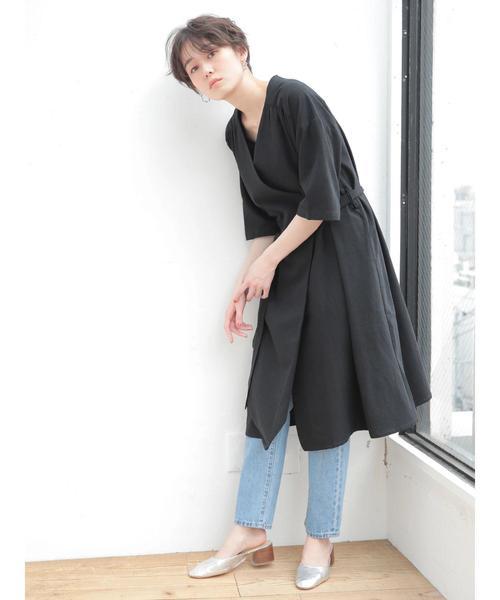 [koe] リネン混カシュクールワンピース羽織 〇
