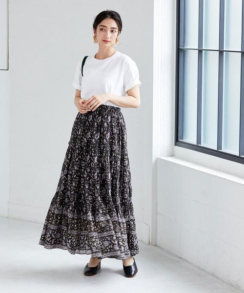 エスニックファッション◎シャツ×マキシスカート