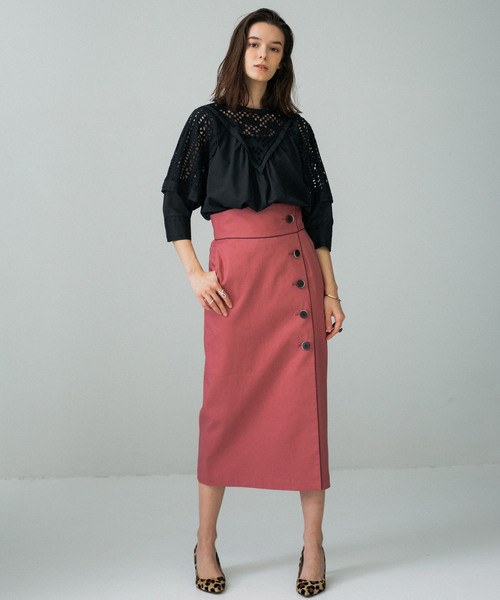 [PUBLIC TOKYO] 綿麻ボタンラップタイトスカート
