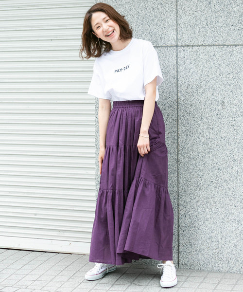 [URBAN RESEARCH ROSSO WOMEN] F by ROSSO リネンティアードロングスカート