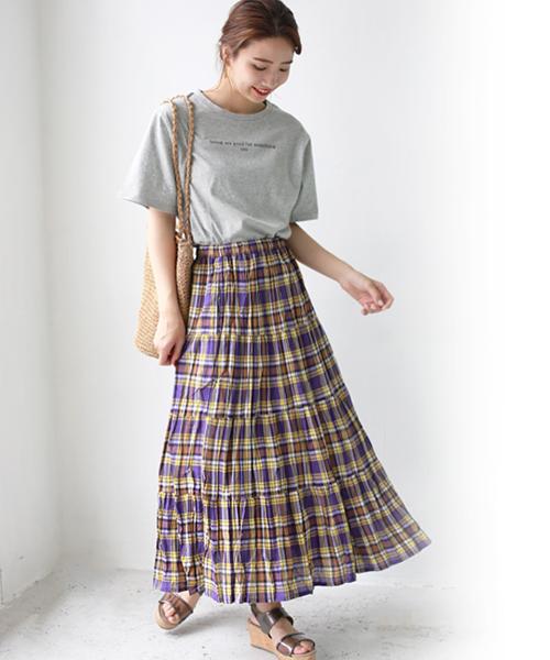 [REAL CUBE] チェックティアードスカート