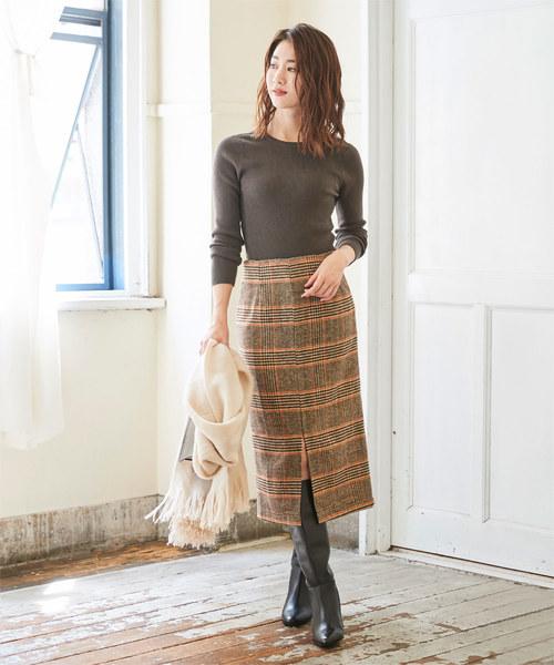 [ur's] フロントスリットタイトスカート
