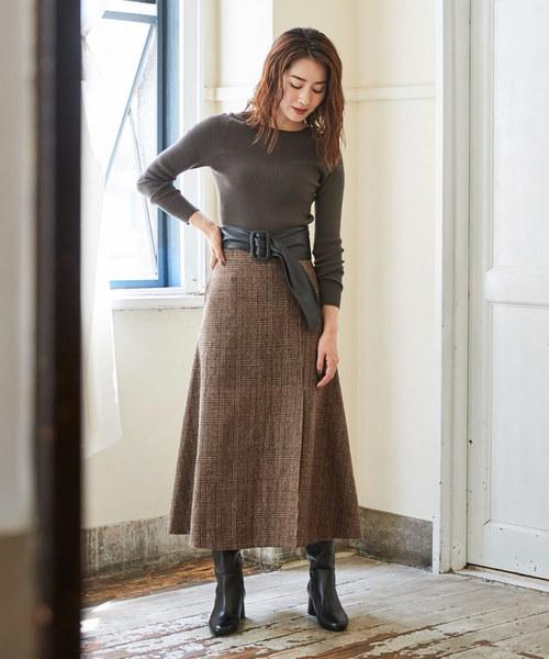 [ur's] チェックラップフレアスカート