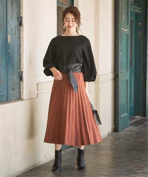 [ur's] ニットプリーツスカート