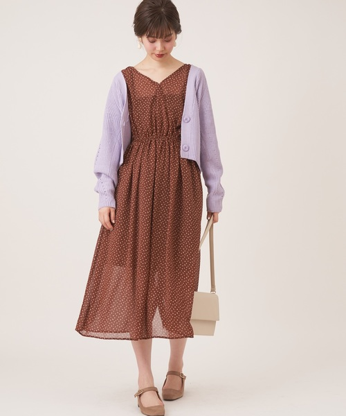 [natural couture] プチプラお上品アイレットカーディガン