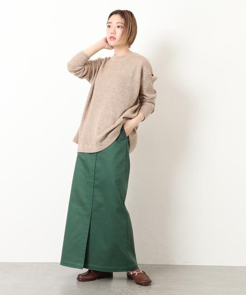 ヘルシーなツイルロング丈スカート